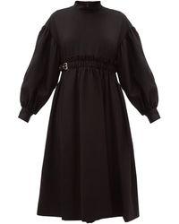 Noir Kei Ninomiya Ballon-sleeve Buckled-waist Wool-blend Midi Dress - Black
