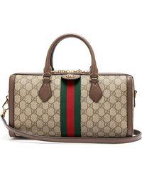 fbfa65377 Gucci Tian Print Gg Supreme Shoulder Bag in Red - Lyst
