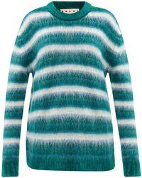 Marni Striped Mohair-blend Sweater - Green