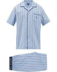Polo Ralph Lauren Pyjama rayé en coton à logo brodé Paul - Bleu