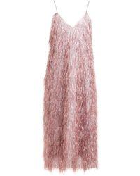 Raey V-neck Tinsel Midi Slip Dress - Pink