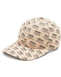 Gucci - Logo-print Woven Linen-blend Cap - Lyst