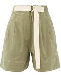 Lee Mathews Birder Pleated Cotton-poplin Shorts - Green