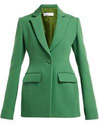 Marina Moscone Single Breasted Basque Shaped Twill Blazer - Green