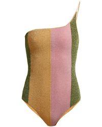 Oséree Lumière Asymmetric Metallic Swimsuit - Multicolor