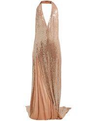 Ashish Chandra Halterneck Sequinned Dress - Brown