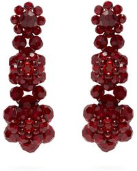 Simone Rocha Floral Beaded Drop Earrings - Multicolor