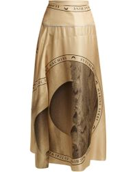 Marine Serre - Moon Print Silk Midi Skirt - Lyst