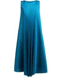 Pleats Please Issey Miyake Pleated Trapeze Cut Midi Dress - Blue
