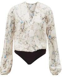 Raey - V-neck Marble-print Silk-satin Wrap Bodysuit - Lyst