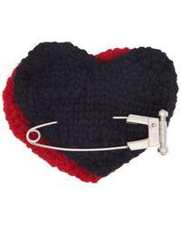 Prada Heart Safety Pin Wool Brooch - Red