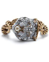 Gucci - Chunky Feline Head Bracelet - Lyst