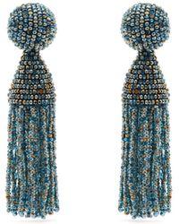 Oscar de la Renta Beaded Tassel Drop Earrings - Blue