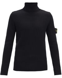 Stone Island Logo-patch Roll Neck Wool Sweater - Black