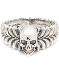 Emanuele Bicocchi - Skull-centre Sterling-silver Ring - Lyst
