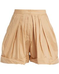 Vika Gazinskaya - Pleated-front Cotton Shorts - Lyst