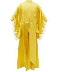 Carine Gilson Lace-trimmed Silk-satin Robe - Yellow