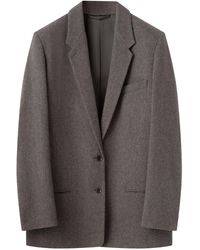 Lemaire オーバーサイズ ツイードシングルジャケット - グレー