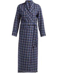 Emma Willis Checked Cotton Robe - Blue