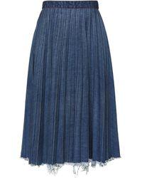 Balenciaga ダメージ プリーツ デニムスカート - ブルー