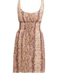 Emilia Wickstead Snakeskin-print Linen Dress - Pink