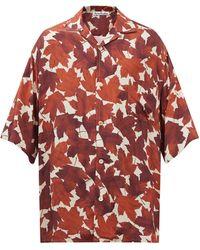 Acne Studios サンディンパー メープルプリント ツイルシャツ - レッド