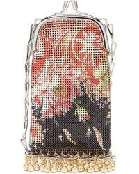 Paco Rabanne Pixel Mini Floral-print Fringed Chainmail Bag - Black