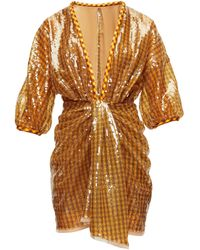 Fendi Sequinned Plunge-neck Mini Dress - Brown