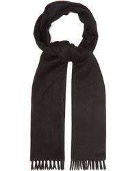 Prada Logo-embroidered Brushed-cashmere Scarf - Black