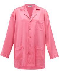 Balenciaga Oversized Satin Pyjama Shirt - Pink