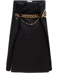 Bottega Veneta ジオメトリックアイレット カシミアツイルスカート - ブラック