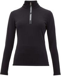 Fendi Roma Half-zip Stretch Jersey Top - Black