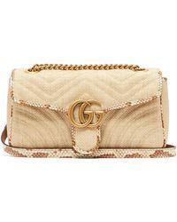 Gucci Marmont Raffia Shoulder Bag - Natural