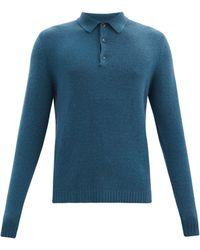 Allude ロングスリーブ カシミアポロシャツ - ブルー