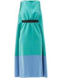 ROKSANDA アトール ツートーンクレープノースリーブドレス - ブルー