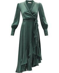 Zimmermann ビショップスリーブ シルク ラップドレス - グリーン