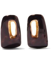 Marni Trapeze Enamel Earrings - Black