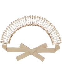 Rosantica Dolce Vita Crystal-embellished Ribbon Headband - Metallic