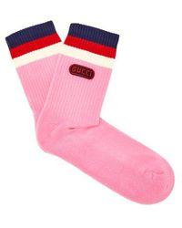 Gucci - Logo-embellished Striped Ankle Socks - Lyst