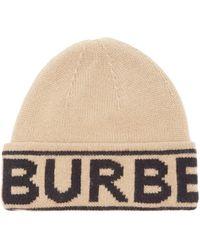 Burberry ロゴジャカード カシミアビーニー - ナチュラル