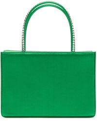 AMINA MUADDI Amina Gilda Crystal-handle Silk-satin Box Bag - Green