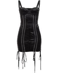 Dolce & Gabbana レース ビスチェボディス サテンミニドレス - ブラック