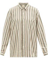 Marrakshi Life Stripe-jacquard Patch-pocket Cotton-oxford Shirt - Natural
