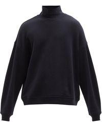Raey Funnel-neck Cotton-jersey Sweatshirt - Blue