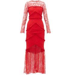Emilio de la Morena Lace-panel Sheer Hem Gown - Red