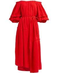 Apiece Apart Sandrine Tie Waist Cotton Dress