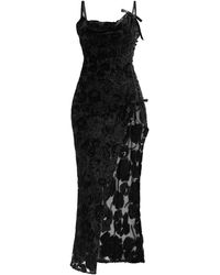 Alessandra Rich ローズ ベルベットデヴォレ スリップドレス - ブラック