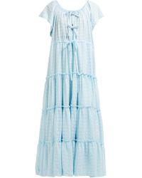Innika Choo Alotta Güd Tiered Cotton Maxi Dress - Blue