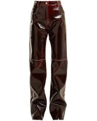 MSGM - Relaxed Crinkle Effect Vinyl Trousers - Lyst
