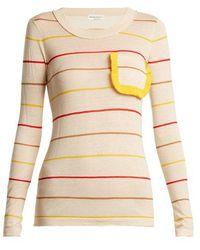 Sonia Rykiel - Ruffle-trim Striped Sweater - Lyst